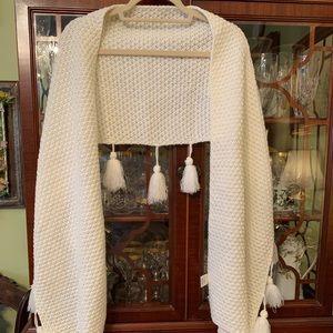 Ivory tasseled wrap